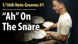 1/16th notes, 1/16th note grooves, 1/16th note groove patterns, easy grooves, beginner grooves, beginner beats, easy drum lesson, beginner drum lessons, 1/16th note rhythms, 1/16th note snare,