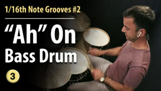 1/16th notes, 1/16th note bass drum, 1/16th note grooves, 1/16th note groove patterns, easy grooves, beginner grooves, beginner beats, easy drum lesson, beginner drum lessons, 1/16th note rhythms, 1/16th note snare,